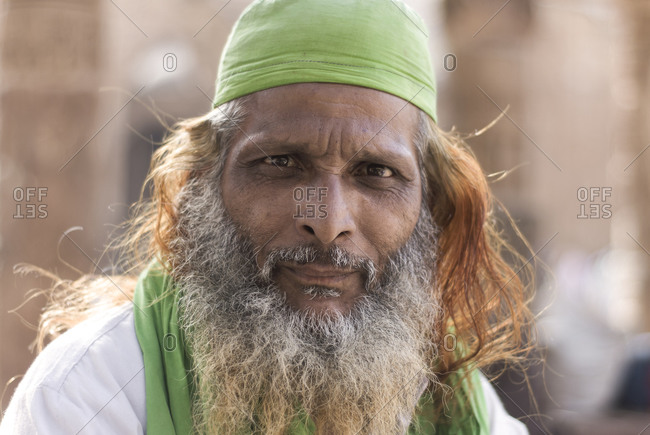 Ajmer, Rajasthan, India - March 19, 2009: A Muslim pilgrim