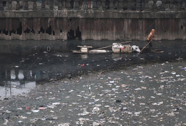 Polluted water way in Jakarta, Indonesia