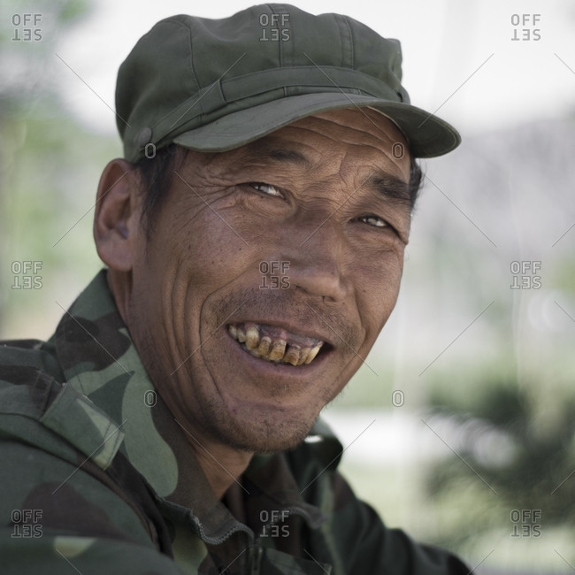 Gansu Province, China - June 23, 2009: Portrait of a Chinese man