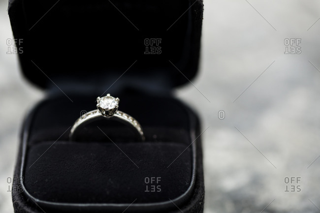 A diamond wedding ring in a box