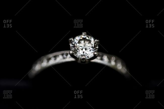 Close up of a diamond wedding ring