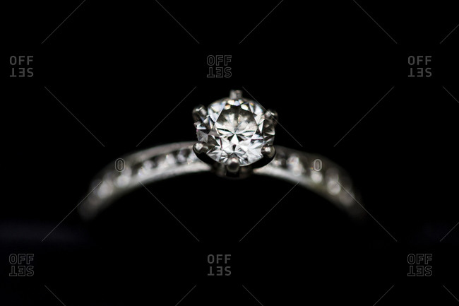 Close up of a diamond wedding ring