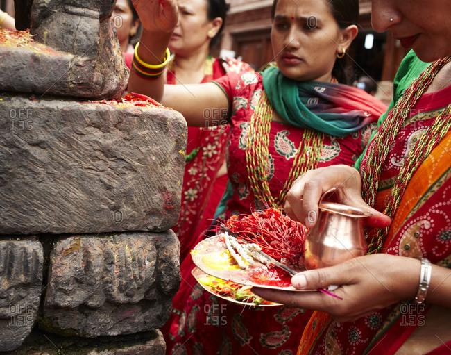 Bhaktapur, Nepal - July 15, 2012: Nepalese holy festival