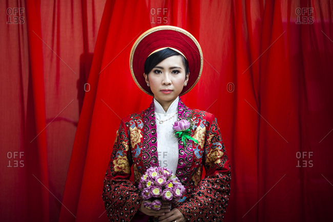 Ho Chi Minh City, Vietnam - November 26, 2013: Portrait of a young Vietnamese woman on her wedding day in Ho Chi Minh City, Vietnam