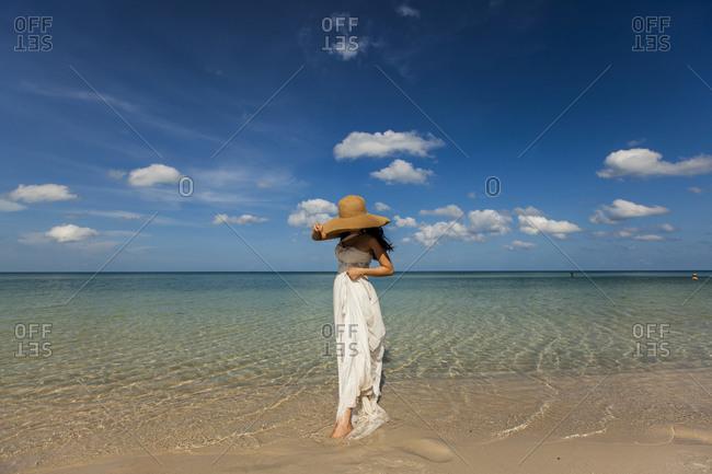 Woman posing on the beach of Phu Quoc, Vietnam