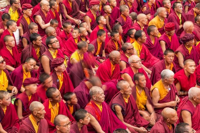 Ladakh, India - September 1, 2013: Buddhist monks at Hemis festival, Indus Valley