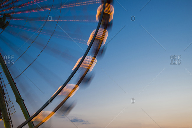 Part of big wheel at blue hour