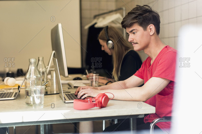 Young business people working in creative office