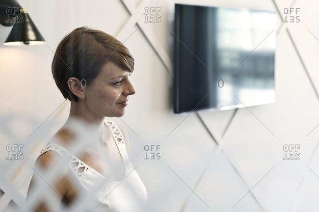 Businesswoman listening