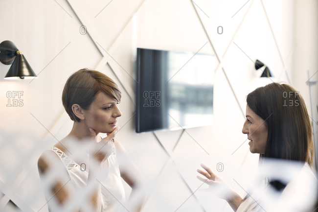 Two businesswomen talking