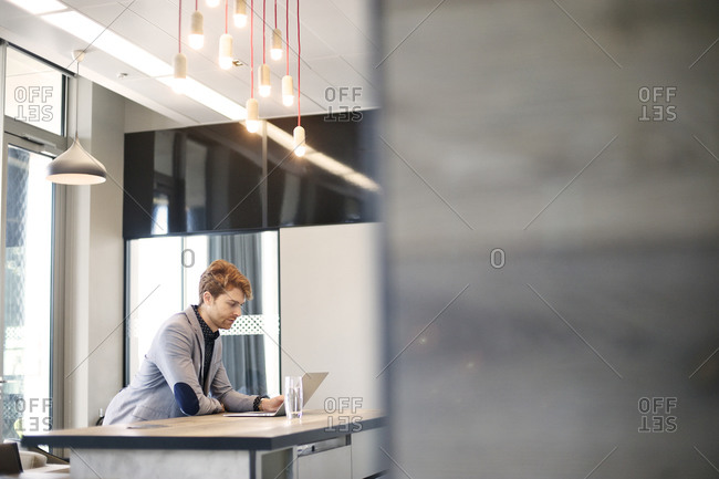Businessman leaning on table using laptop