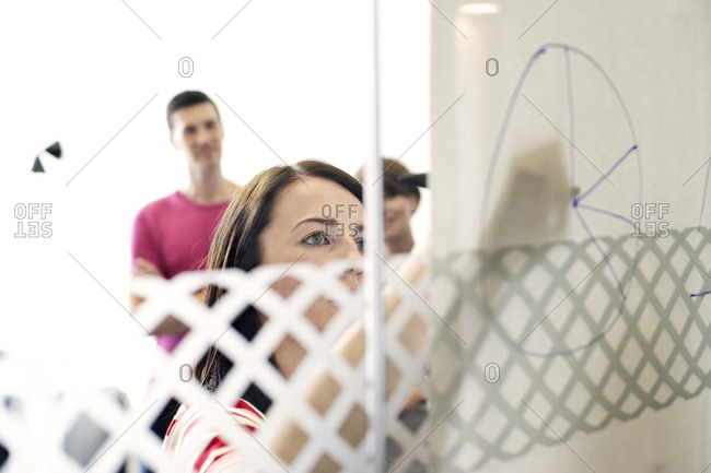 Businesswoman drawing graph by hand at meeting