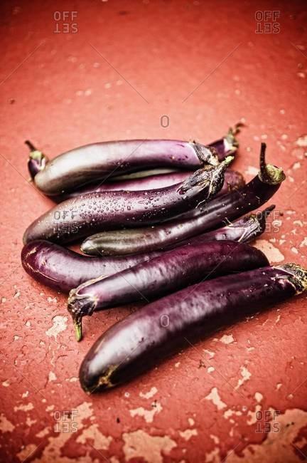 Close up of fresh eggplants