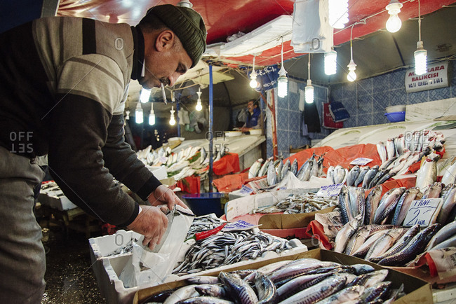 Istanbul, Turkey - February 8, 2014: Man packing fish at a market in Istanbul, Turkey