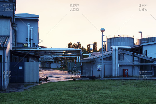 Factory at dusk in Zagreb, Croatia