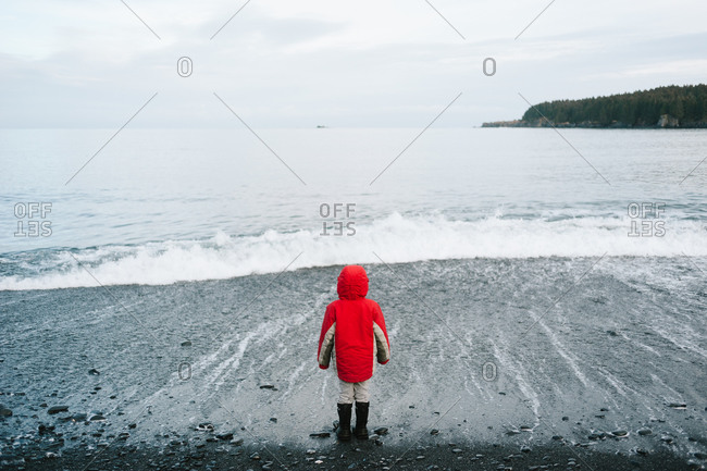 A boy in a red jacket watching the waves roll in