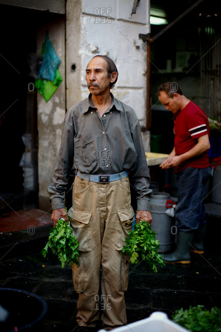 Catania, Sicily, Italy - August 9, 2011: Man holding bunches of parsley at a market in Catania, Italy