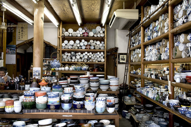 Huge selection of Japanese ceramics and pottery in a shop