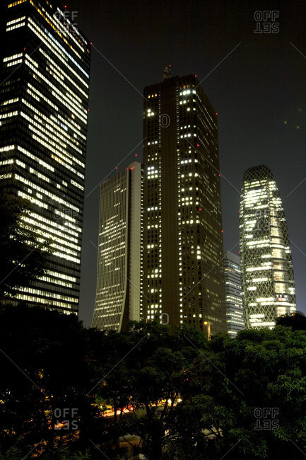 Skyscrapers at night in Tokyo