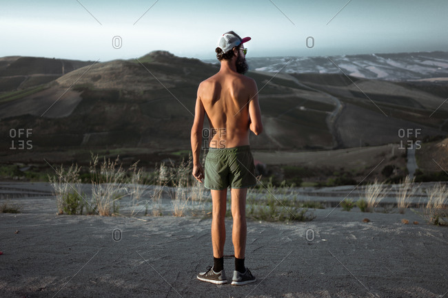 Rear view of a man admiring the mountain view