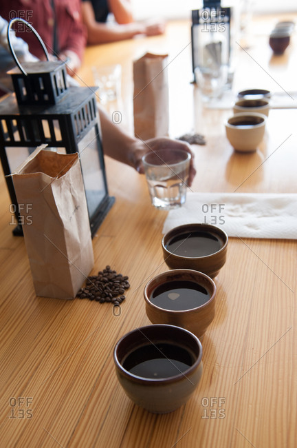 Coffee cups set up for a coffee tasting