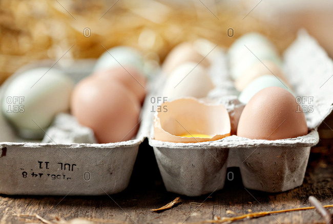 Close up of a carton of eggs