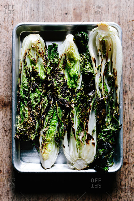 Roasted chinese cabbages in baking dish