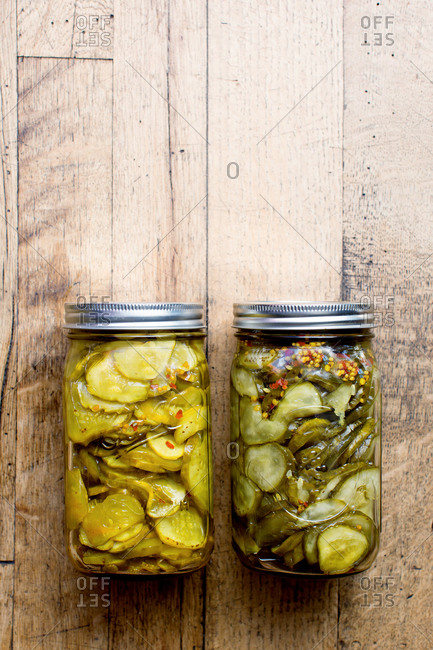 Two jars of pickled cucumber