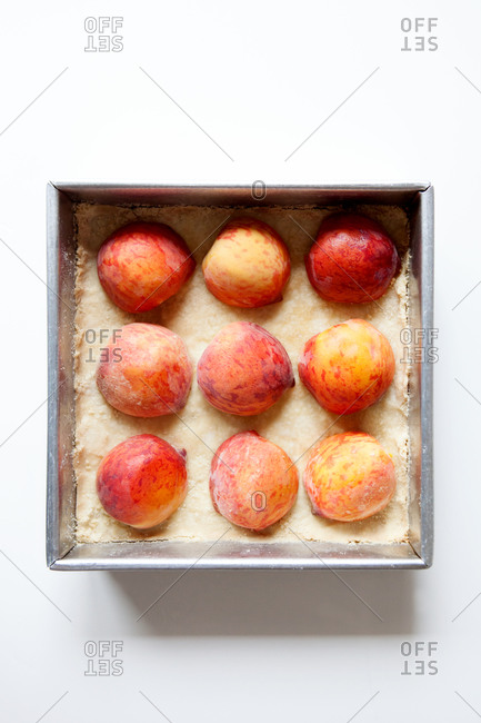 Top view of making homemade peach pastry
