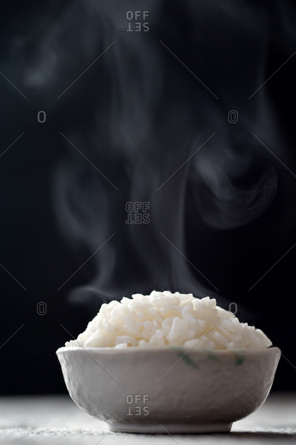 Bowl of steaming rice