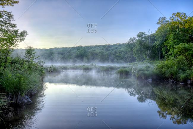 Morning fog above river and forest landscape
