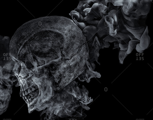 Skull facing sideways with smoke