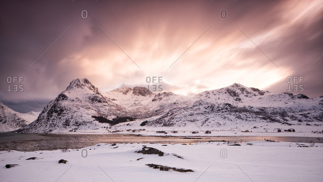 Snowy mountains at sunset in Norway