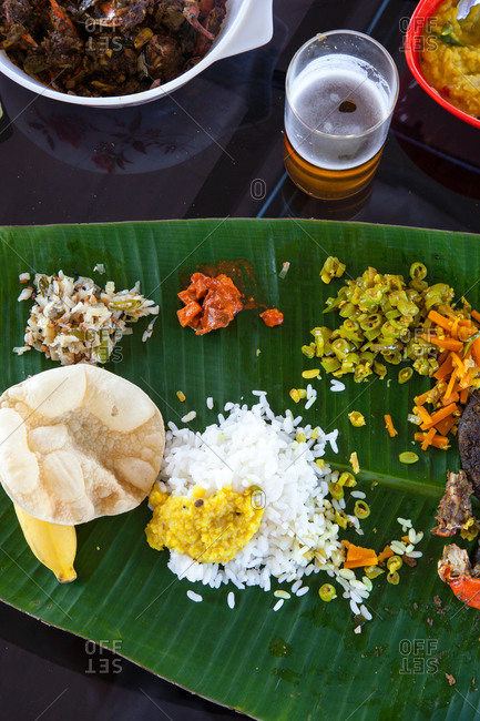 Traditional Indian meal served on banana leaves