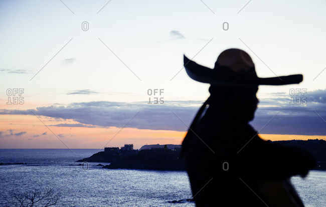 Silhouette of a man near the sea