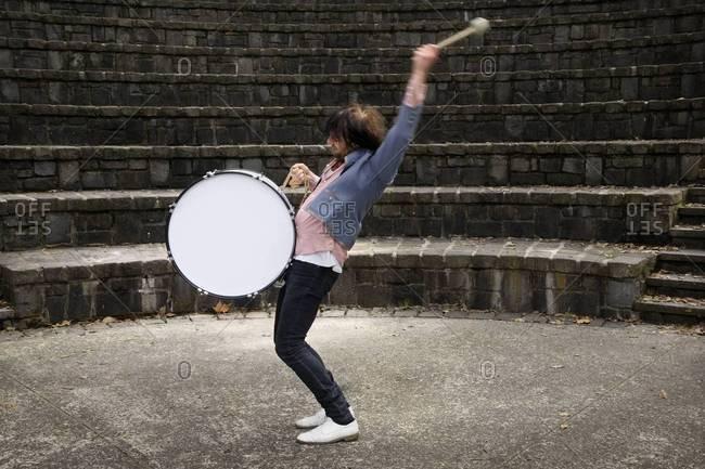 Portrait of drummer in action