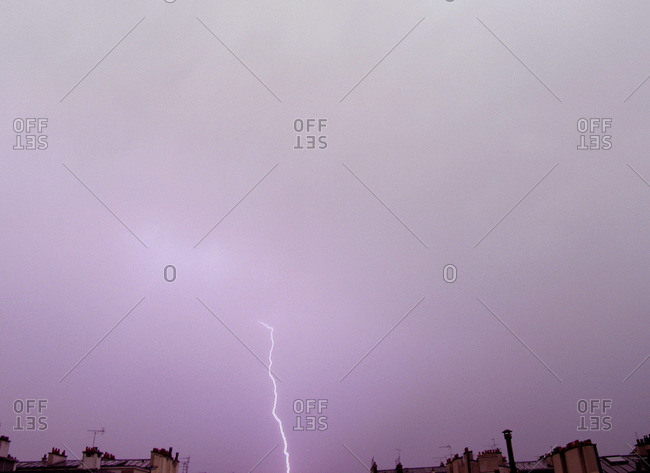 Lightning striking down from a cloud