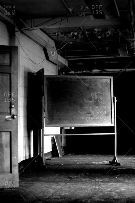 Blackboard in an empty room