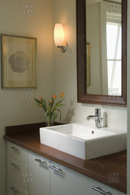 Contemporary sink and vase with tulips