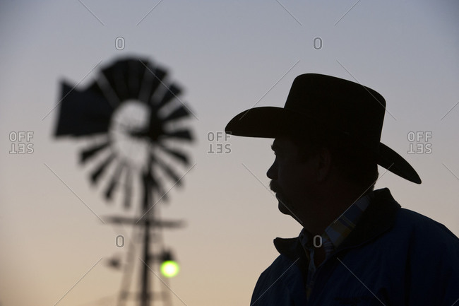 Silhouette of a Nebraska rancher in the Nebraska Sandhill