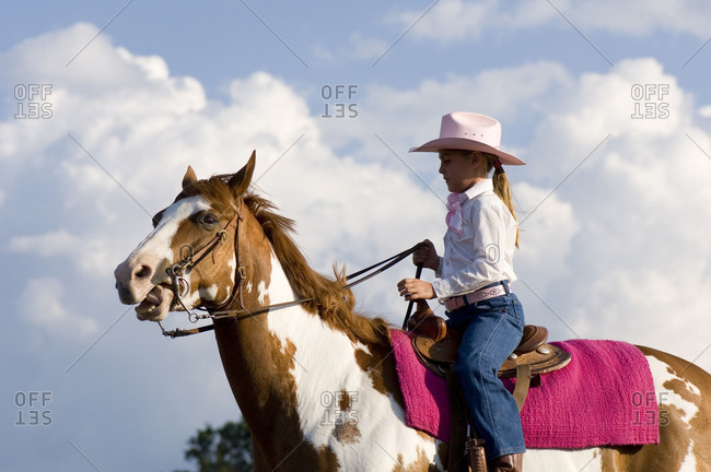 A young cowgirl at Nebraska's Big Rodeo in Burwell.