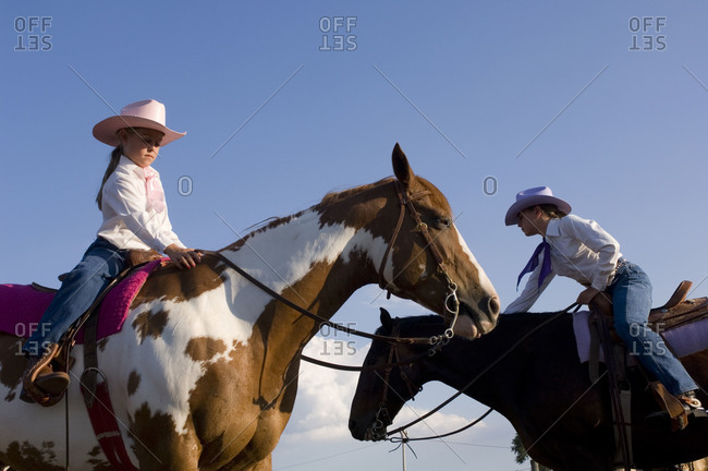 Two young cowgirls at Nebraska's Big Rodeo in Burwell.