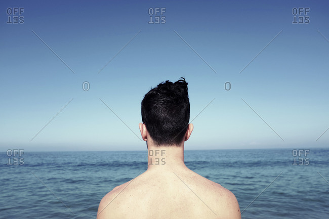 Back view of a man observing a sea