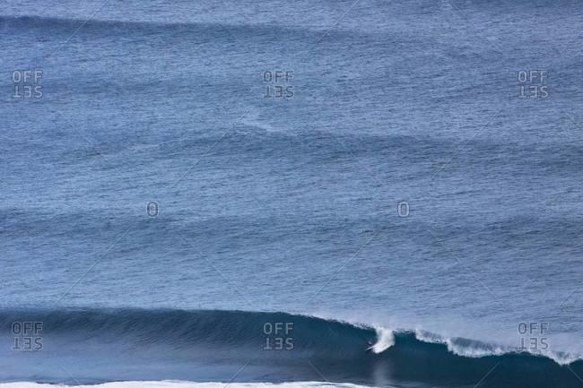 Surfer riding an ocean wave in Hawaii
