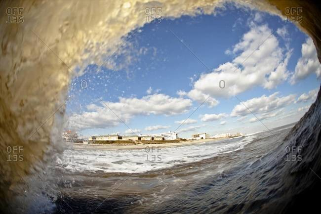 A wave breaking in cold water, near New Jersey, USA