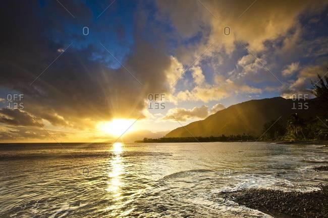Sunset at Teahupoo, Tahiti - Offset