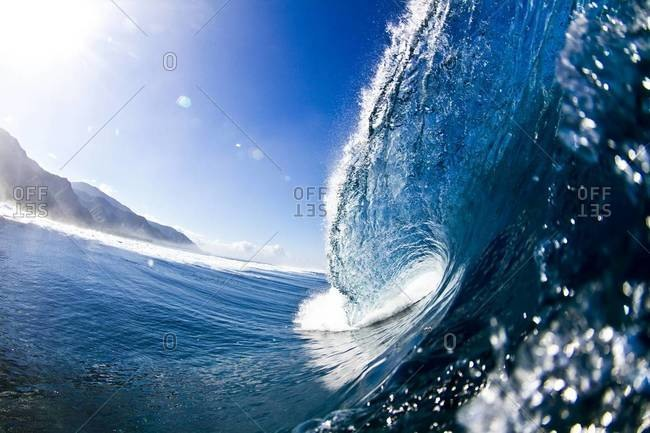 Breaking wave at Teahupoo in Tahiti
