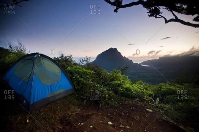 Camping tent in Moorea, Tahiti