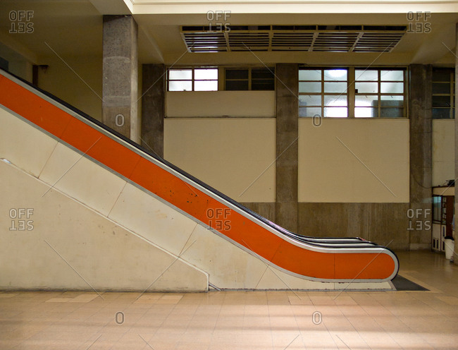 View of an escalator at the Hospital de Clinicas in Buenos Aires, Argentina