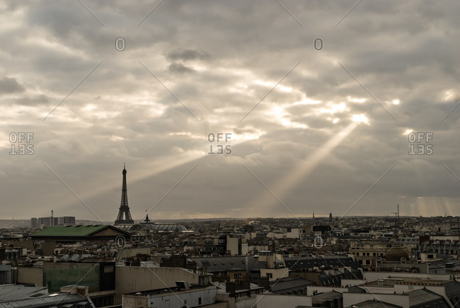 View of the Eiffel Tower in Paris, France